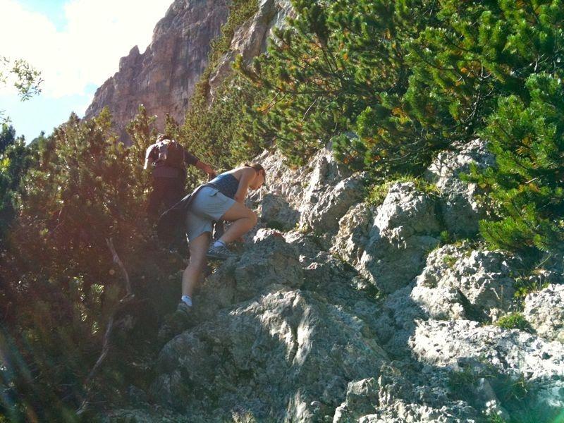 Leichte Kletterstellen